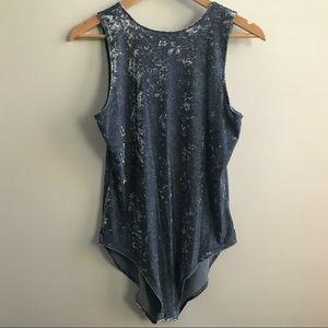 AEO Gray Crushed Velvet Bodysuit Size Large